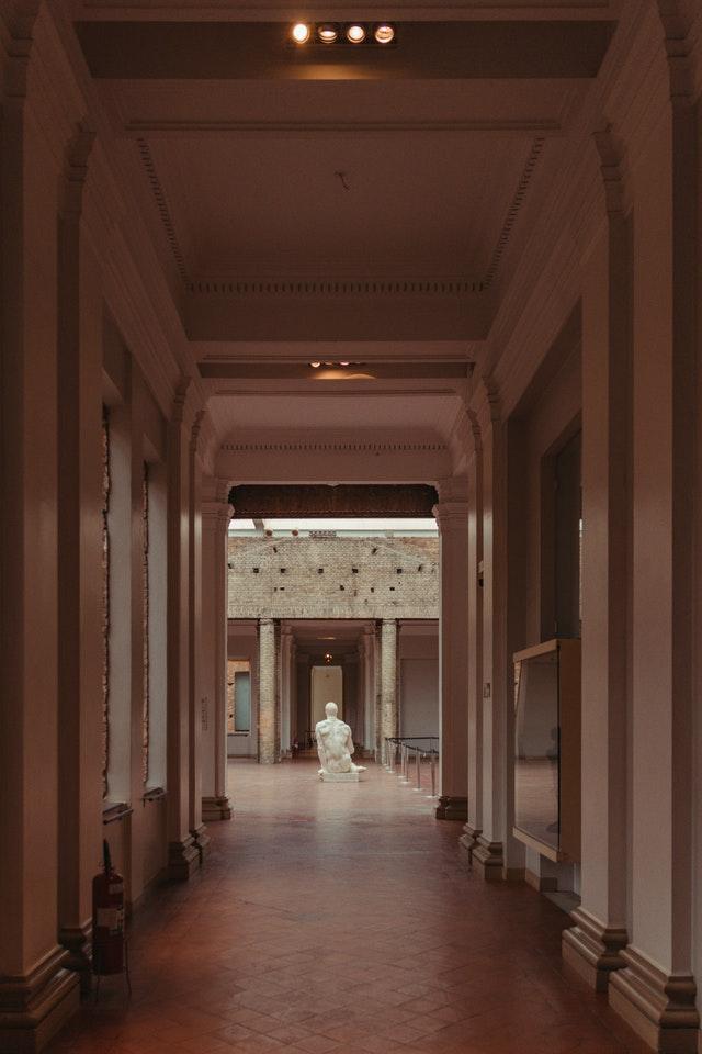 sculpture after hallway in art gallery